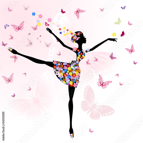 Fototapeta ballerina girl with flowers with butterflies