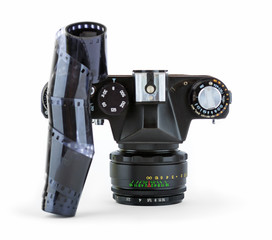 Close-up view of a classic manual SLR film camera with film