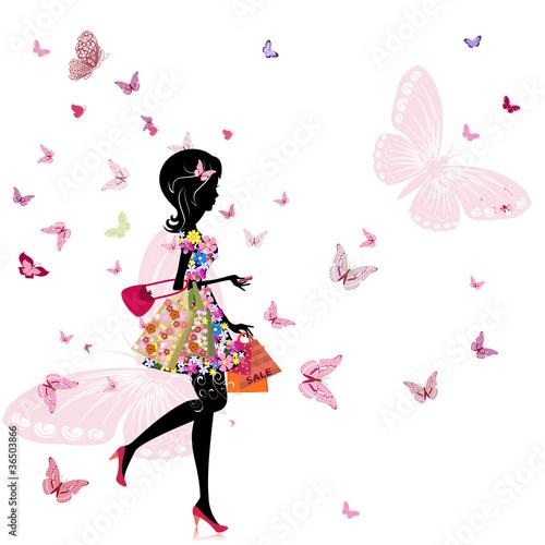 Foto op Canvas Bloemen vrouw girl with a flower shop in