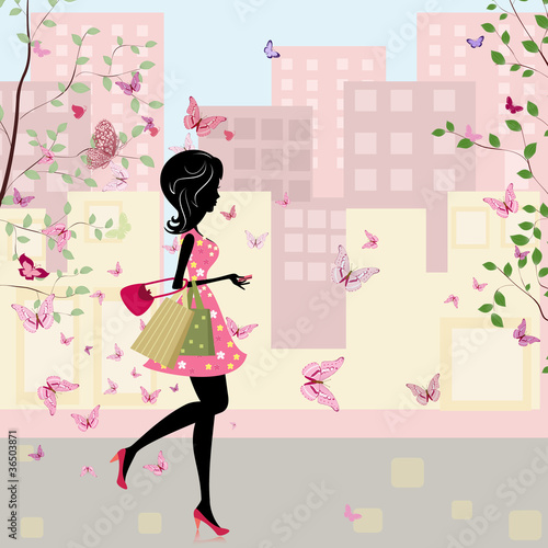 Foto op Canvas Bloemen vrouw girl with shopping in the spring