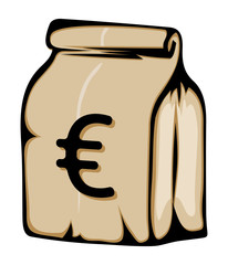 Paper money bag with euro sign