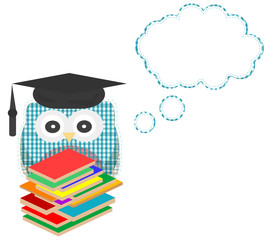 Owl teacher and books with vector speech bubble