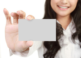 Business card or white sign - Portrait of a beautiful business w