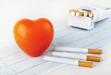 Red heart on the cardiogram and cigarettes.