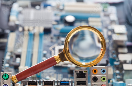 Magnifying glass and circuit board