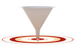 3D marketing conversion funnel - onto red target