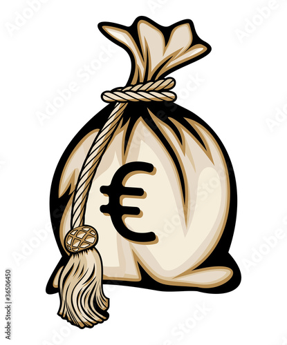 Money bag with euro sign vector illustration