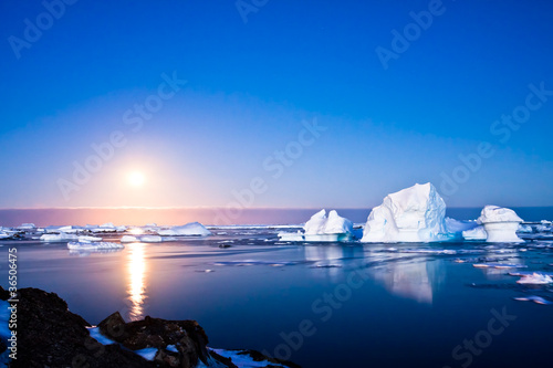 In de dag Gletsjers Summer night in Antarctica