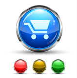 Shopping Cart Cristal Glossy Button