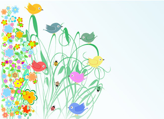 cute flowers and bird vector holidays greeting card