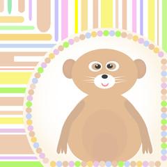cute Baby lemur greetings card for scrapbook Vector