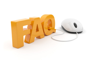 FAQ 3D text with computer mouse. Isolated on white background