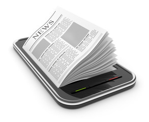 Business newspaper on smart  phone. Mobile device concepts 3D.