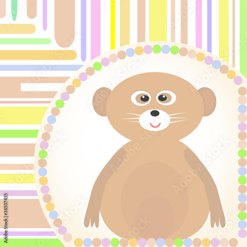 cute Baby lemur greetings card for scrapbook Vector