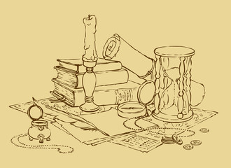 Vector still life of a compass, the hourglass, book, candle and