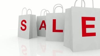 Sale Shopping Bags on White Background HD
