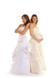 happy pregnant bride  with girlfriend