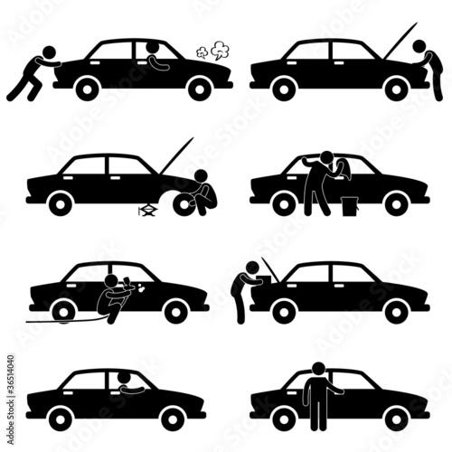Fixing Checking Washing Repairing Painting Car Changing Tyre