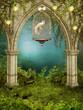 Zaczarowany ogród z klatką i gołębiem