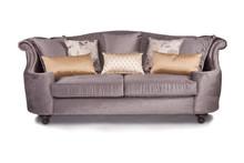 Fioletowa sofa kanapa z rzucać poduszkami