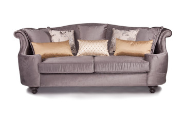 purple couch sofa with throw pillows