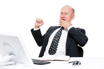 tired businessman in office