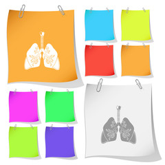 Lungs. Vector note papers.