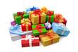 Ein fröhlicher Haufen bunter Geschenke