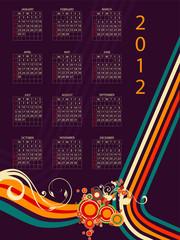 full editable 2012 vector calendar on vintage colors