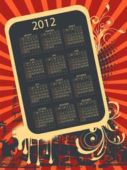 Full editable 2012 vector calendar on grunge urban theme
