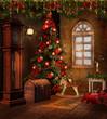 Świąteczny pokój retro z czerwonymi ozdobami