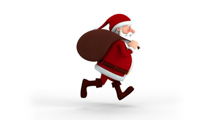 Cartoon Santa Claus with gift bag running on spot - side