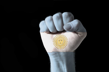 Fist painted in colors of argentina flag