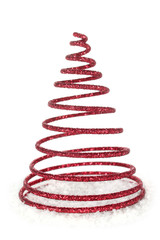 Sapin de Noël en spirale rouge avec des paillettes