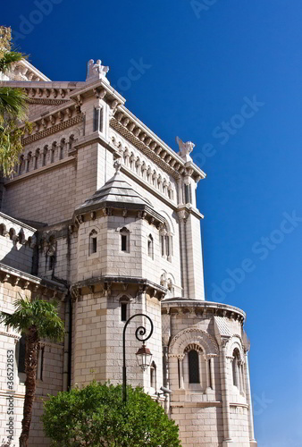 Side of the Cathedral of Monaco on blue sky