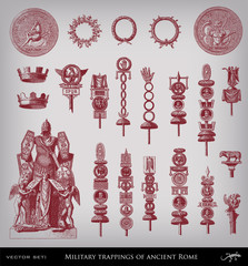 Military trappings of ancient Rome set.