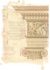 Hand draw sketch ionic architectural order