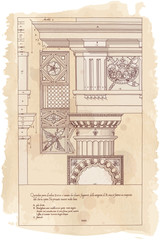Hand draw sketch doric architectural order