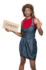 Woman Hitch Hiking to a Concert