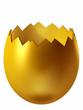 Eierschale geöffnet in Gold