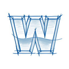 Blueprint font sketch - letter W - marker drawing