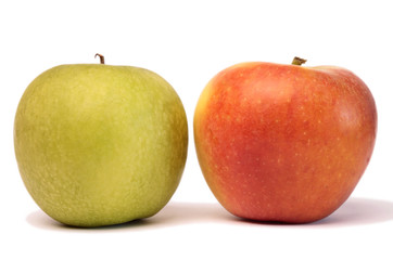Two fresh apples isolated on white