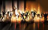 Fototapety Party sound background Illustration with dancing people
