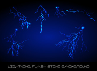 Lightning flash strike background set