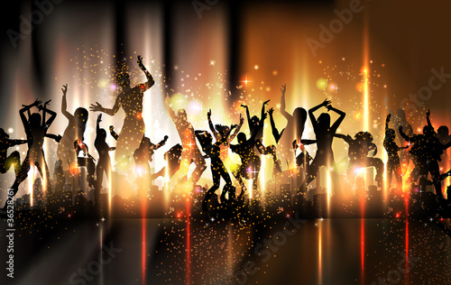 Tło strony dźwięku Ilustracja z tańczących ludzi