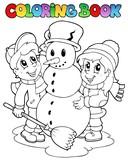 Fototapety Coloring book winter scene 2