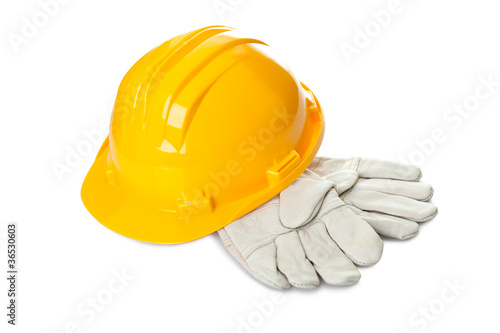 Safety construction equipments on white background