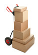 Large dolly with brown shipping boxes