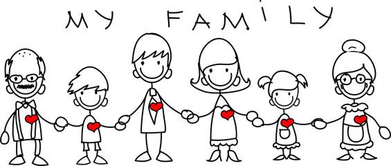 Счастливая семья, держась за руки и улыбаясь