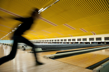 Bowling player in Action - Motion effect.